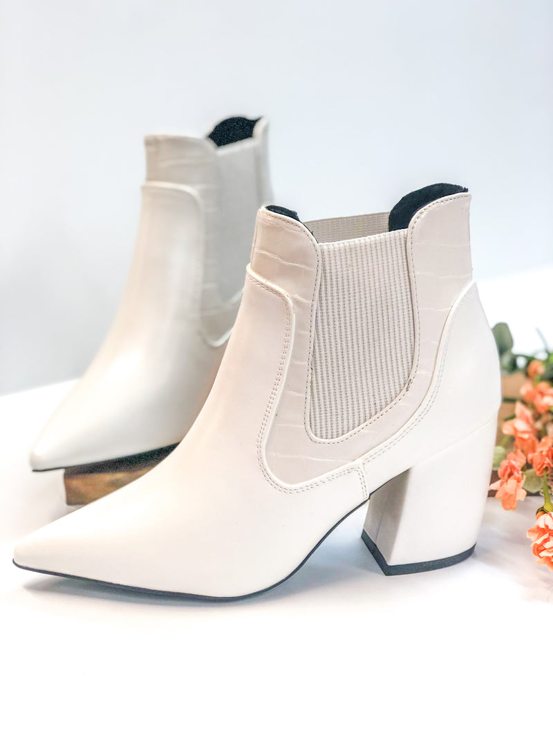 White Croc Pointed Toe Booties – Giddy