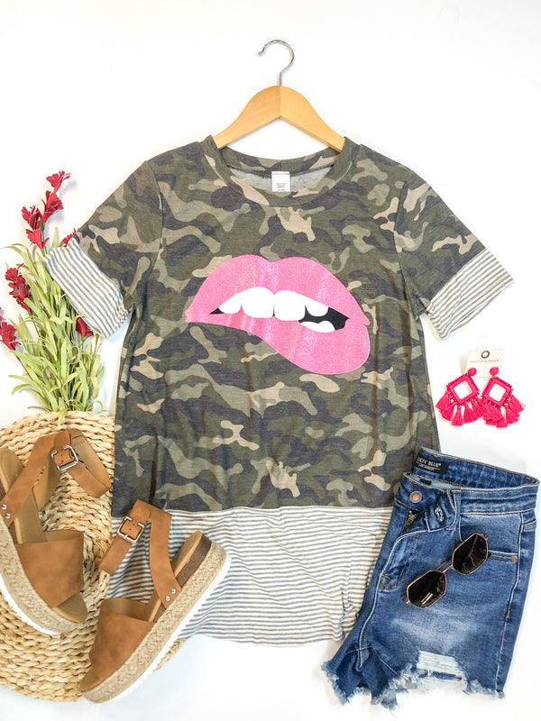 Oh So Worth It Pink Lip Graphic Tee with Striped Detailing in Camouflage