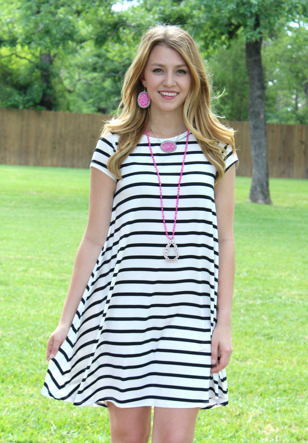 All The Stripe A Line Short Sleeve Tunic Dress in Black
