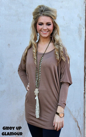 A Spot To Snuggle Mocha Slouchy Top