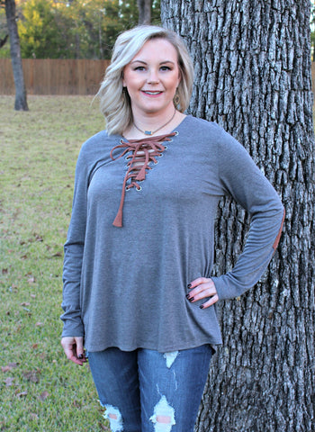 Let's Patch It Up Long Sleeve Top with Elbow Patches and Drawstring Neckline in Grey