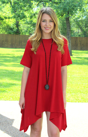 Not A Doubt Asymmetrical Hemline Tunic in Red