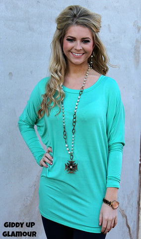 A Spot To Snuggle Mint Slouchy Top