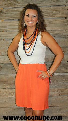 Gameday Gal Dress in Ivory & Orange