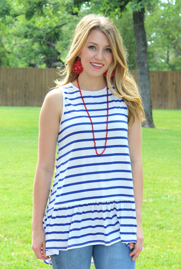 The One and Only Sleeveless Stripe Top with Ruffle in Blue