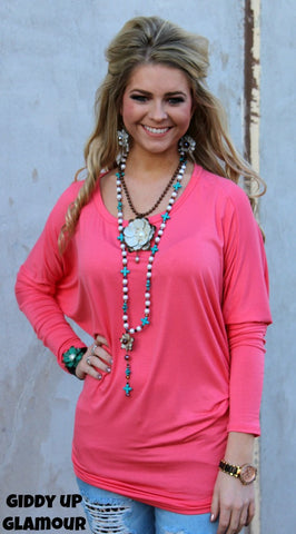 A Spot To Snuggle Coral Slouchy Top