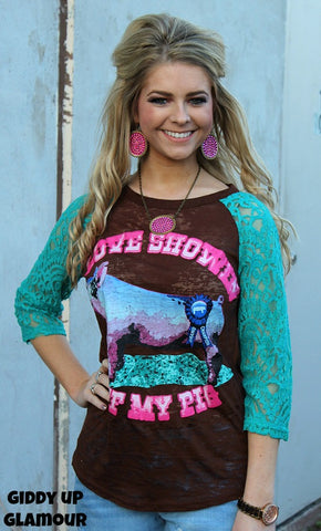 Love Showin' Off My Pig Brown Baseball Tee with Turquoise Sleeves