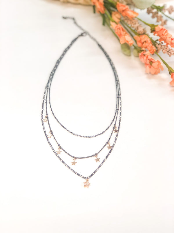 Cosmic Vibes Three Strand Necklace with Stars in Gunmetal and Gold