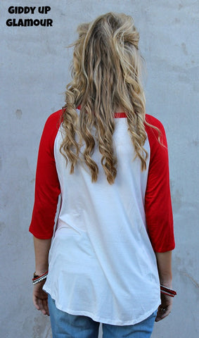 A Million Reasons Red Sequin Heart Baseball Tee