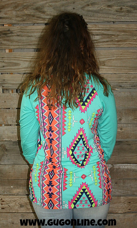 Whisk Me Away Turquoise, Lime Green, Pink and Coral Aztec Top with Crochet Pocket