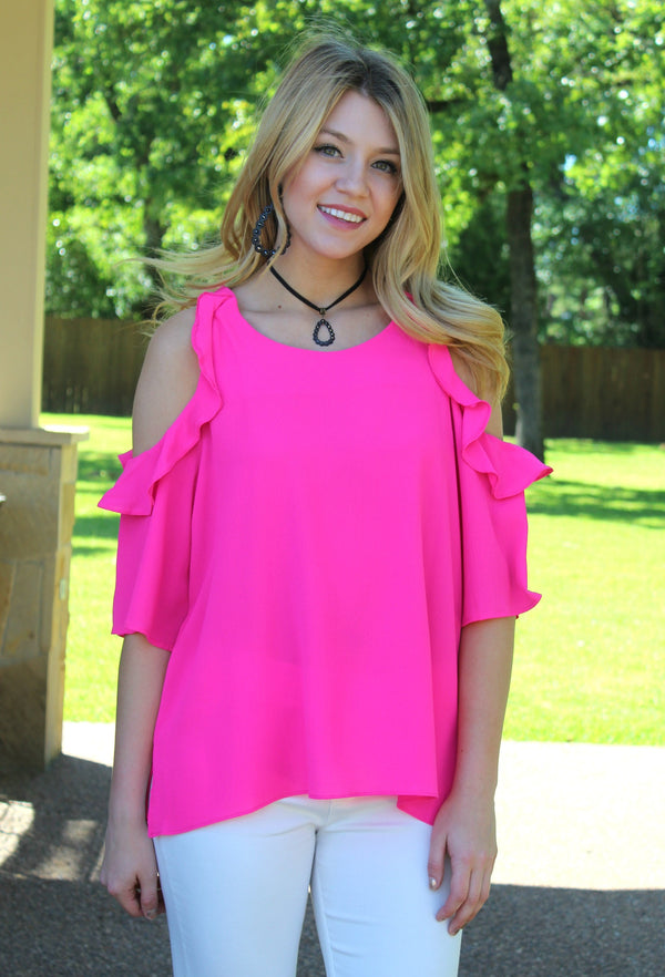 stylish surprise Women's trendy plus size boutique clothing solid ruffle cold shoulder shirt top blouse affordable umgee hot pink fuchsia