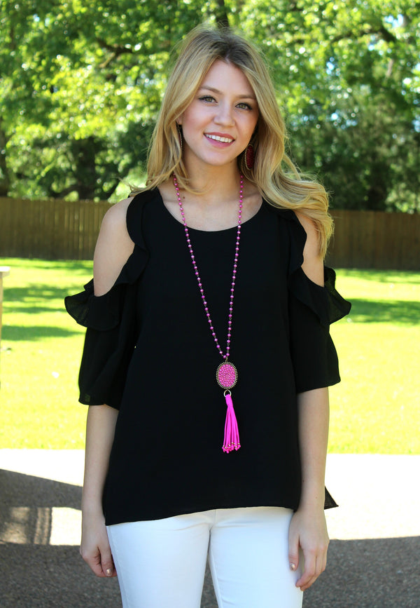 Stylish Surprise Cold Shoulder Blouse in Black
