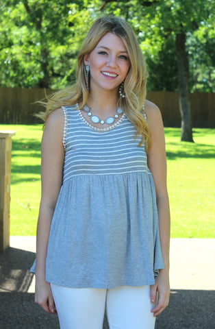 Oh So Sweet Stripe Babydoll Top in Heather Grey