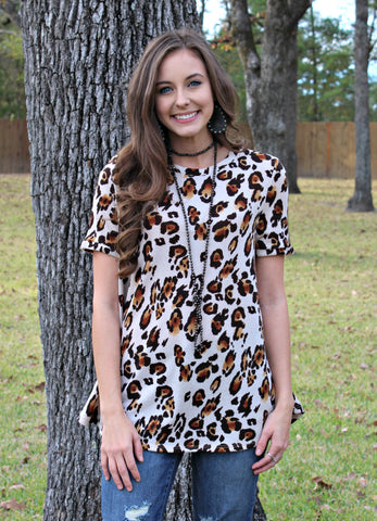 Easy To Love Leopard Short Sleeve Top in Brown