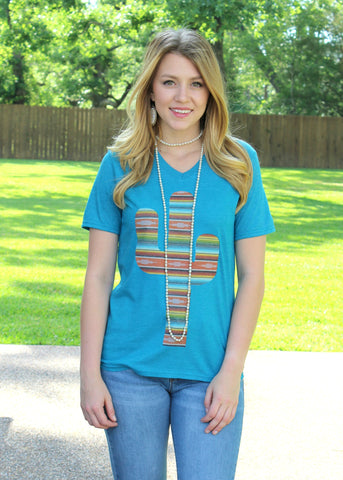 Cactus Serape Short Sleeve Tee Shirt in Dusty Turquoise