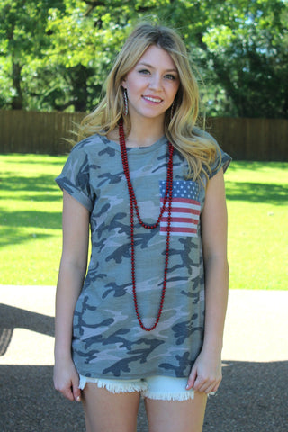Vintage Glory Short Sleeve Camouflage Tee with Flag Pocket