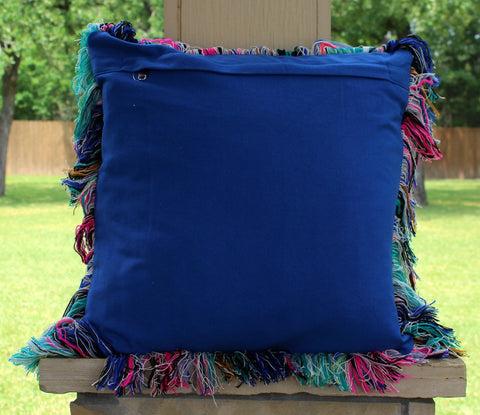 The Kalli Pillow - Royal Blue, Turquoise, Hot Pink Jacquard Print