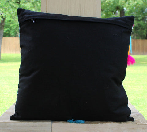 The Brittany Pillow - Black Aztec Jacquard Print with Tassels