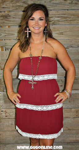 All In The Details Maroon Layered Dress with Lace Trim