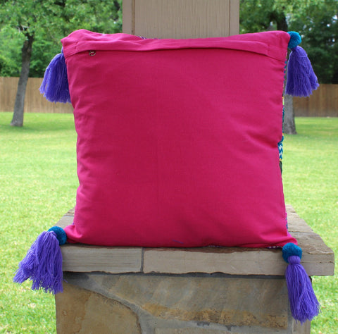 The Abby Pillow - Hot Pink and Turquoise Jacquard Print with Purple Tassels