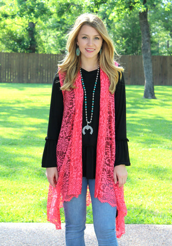 Closer to You Lace Sleeveless Vest in Coral