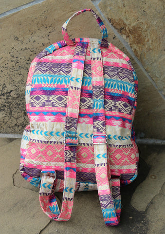 The Caroline Backpack - Pink and Gold Aztec