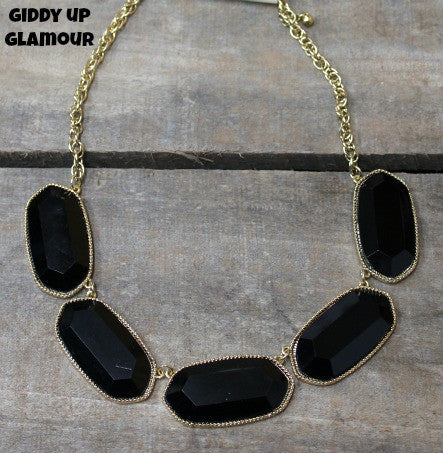 Black and Gold Oval Fashion Necklace