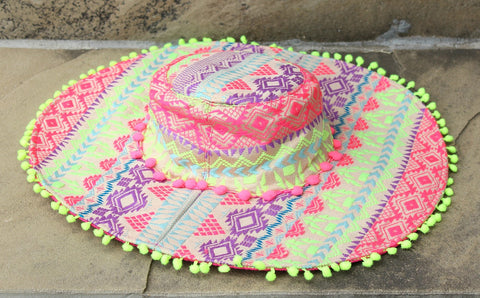The Kennedi Hat - Neon Pink and Yellow Floppy Hat with Pom Trim