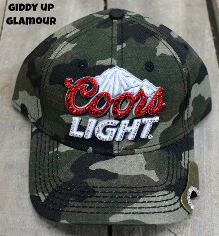 Camo Coors Light Cap Covered in Crystals