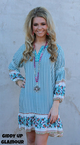 9b8215ed183e93 Make Your Mark Ivory Tunic Dress with Turquoise and Hot Pink Floral ...