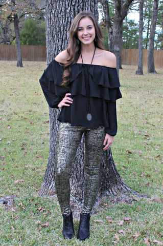 Star Struck Gold Foil Leggings in Black