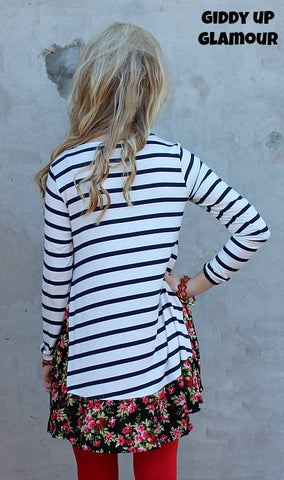 Don't Tempt Me Navy Stripe and Red Floral Tunic