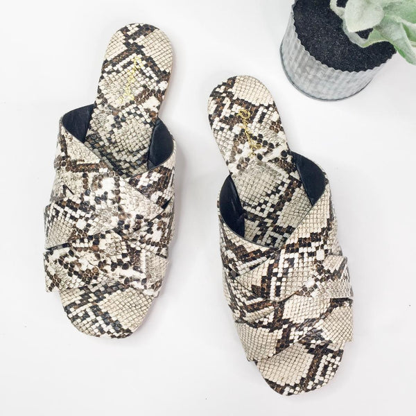 Wild At Heart Slide on Sandals in Snakeskin