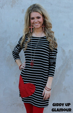 All My Love Black Stripe Tunic with Suede Red Heart
