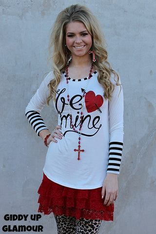Be Mine Valentine Top with Black Stripe and Red Glitter Heart