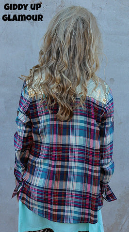 Sparkle Is My Middle Name Magenta and Teal Plaid Long Sleeve with Gold Sequins
