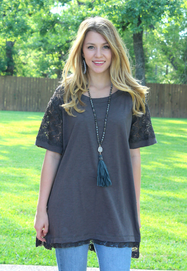Loved By Me Crochet Back Tunic in Charcoal Grey