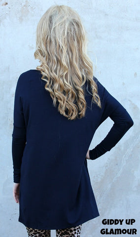 Keep It Simple Long Sleeve Piko Tunic in Navy Blue