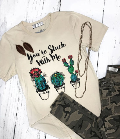 You're Stuck With Me Cactus Short Sleeve Tee Shirt in Cream