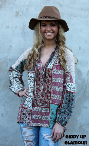 af7b38a842782e Tell It To Me Paisley and Floral Patchwork Blouse with Lace Detailing ...