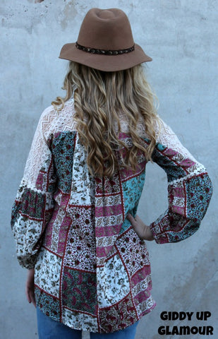f8dc237e0e3711 ... Tell It To Me Paisley and Floral Patchwork Blouse with Lace Detailing
