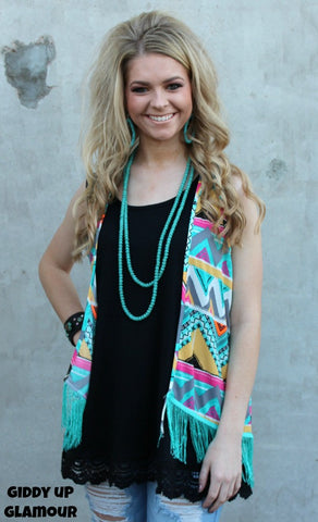 Adults: Hooked on You Aztec Vest with Fringe