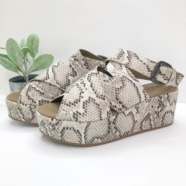 Corky's | Marseille Crossed Straps Platform Wedges in Snake