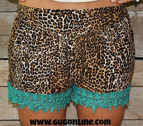 Wild Child Leopard Shorts with Turquoise Crochet Trim