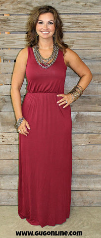 Out Like That Maroon Racerback Maxi Dress