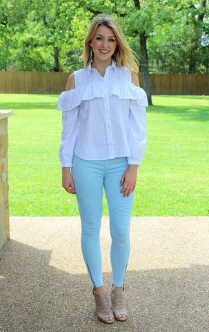 Easy To See Moto Jeggings in Light Blue