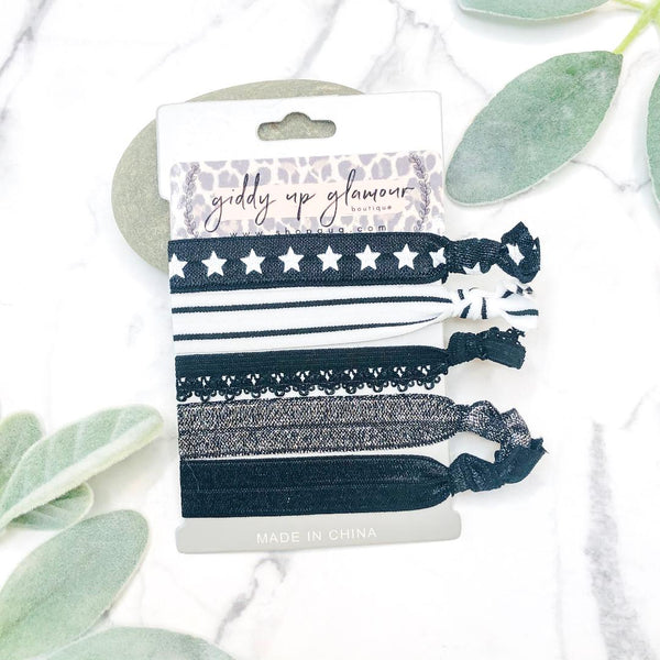 Set of 5 Soft Hair Ties in Lace, Stars, and Black