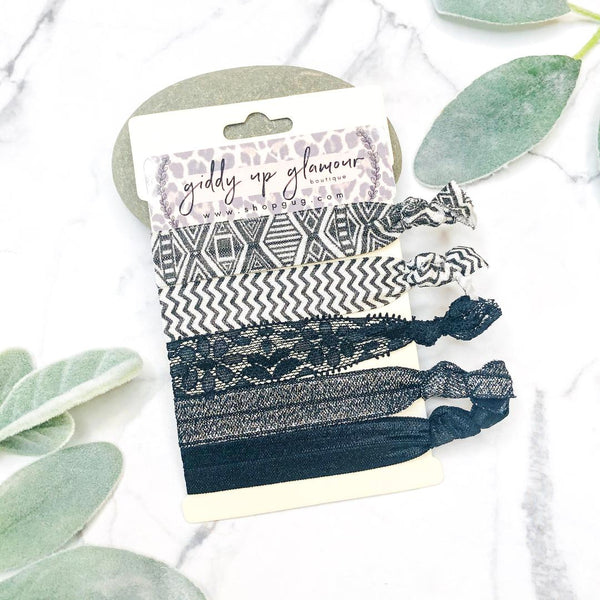 Set of 5 Soft Hair Ties in Black, White, and Aztec