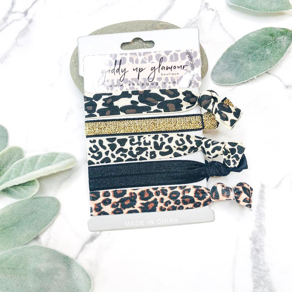 Set of 5 Soft Hair Ties in Leopard, Gold, and Black