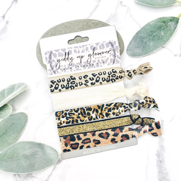 Set of 5 Soft Hair Ties in Ivory, Gold, and Leopard